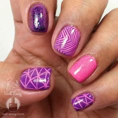 Pink & Purple Nail Art #nailart - bellashoot.com