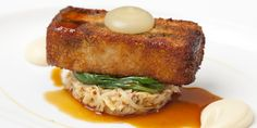 Andy McLeish serves crispy pork belly with black pudding, celeriac remoulade and apple purée in this princely recipe