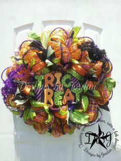 Halloween Mesh Wreaths   Trick or Treath Halloween Deco Mesh Wreath by DesignsbyJordanTX
