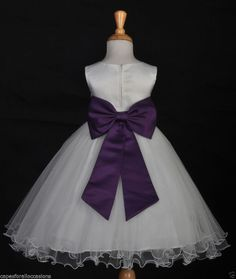 IVORY PURPLE PLUM PAGEANT FORMAL OCCASIONS FLOWER GIRL DRESS 12M 18M 2 4 6 8 10 #Dress $20