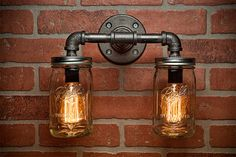 Mason Jar Light  Pipe Light  Vanity Light  Edison Light  by TMGDZN