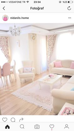 A very feminine appeal goes along with this beautiful room. Home Decor Furniture, Shabby Chic Furniture, Living Room Furniture, Living Room Decor, Bedroom Decor, Living Room Sofa Design, Living Room Designs, Home Design Decor, Interior Design