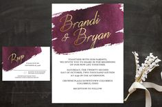 Marsala and Gold Wedding Invitations from Thoughtfully Stamped. #Marsala #Wedding #Invitations