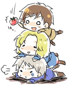 Hetalia- Bad Touch Trio: Spain, France, Prussia chibi! Love these guys!