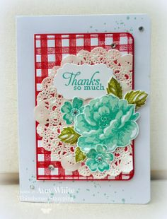 Stippled Blossoms stamp set, Gorgeous Grunge stamp set, Simply Sketched stamp set, paper doily, Simply Stripes EF to print Gingham background  http://whitehousestamping.blogspot.com/2013/12/stippled-gingham-thanks.html