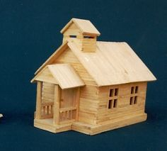 Model home built with popsicle sticks Popsicle House, Popsicle Stick Houses, Popsicle Stick Crafts, Craft Stick Crafts, Matchstick Craft, Ice Cream Stick Craft, House 3d Model, Small Wooden House, Matchbox Crafts