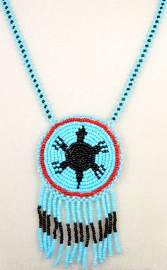 Native American turtle Tribal Beading Patterns | Traditional beaded rosette turtle baby blue necklace in a Cherokee ...