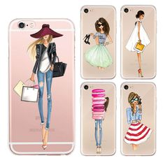 Fashion Lady Phone Cases Coque For iPhone 5 5s se 6 6s 6plus 7 7plus Clear Silicon Plus Luxury Cover Girl Soft Shell Sexy Modern