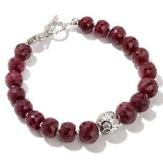 "Colleen Lopez Ruby and Sterling Silver Bead 7-1/2"" Bracelet at HSN.com."