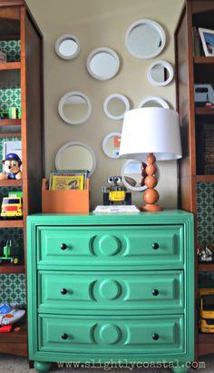 Green With Envy by Benjamin Moore Chalk Painted Dresser for little boy bedroom makeover.  Slightly Coastal