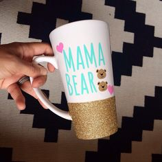 Items similar to Mama Bear With Cubs Glitter Mug - Glitter Dipped Mug - Mama Bear Mug - Mama Bear Gift - Mama Bear Cup on Etsy I Love Coffee, My Coffee, Coffee Cups, Thermos, Cute Cups, Personalized Cups, Vinyl Projects, Mug Designs, Mug Cup