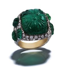 Bayco carved emerald and diamond ring