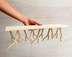 Modern Wood Bench miniature  'ROOTSY' series by StudioLiscious, $59.00