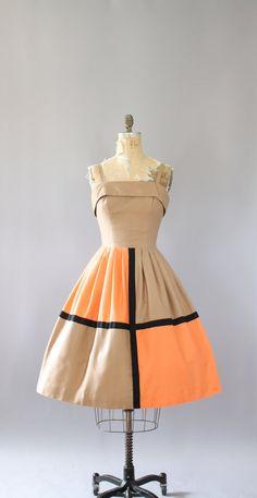 Vintage 50s Dress/ 1950s Cotton Dress/ Sue Leslie Cotton Piqué Sundress w/ Color…