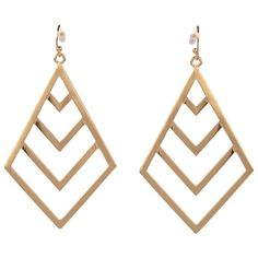 Style Tryst Chevron Earrings ($24) ❤ liked on Polyvore featuring jewelry, earrings, accessories, brincos, bijoux, gold, long earrings, chevron jewelry and earrings jewelry