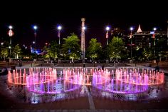 Beautiful shot of Centennial Olympic Park at night, site of the 1996 Olympic Games.
