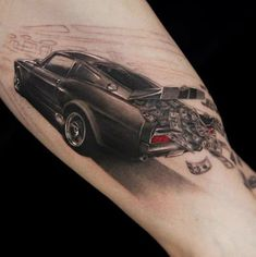 70 Car Tattoos For Men - Cool Automotive Design Ideas - 70 Car Tattoos For Men – Cool Automotive Design Ideas Auto Tattoo For Men With Money Falling Out Of Trunk Amazing 3d Tattoos, Best 3d Tattoos, Tattoos 3d, Tattoos Arm Mann, Wicked Tattoos, Bild Tattoos, Neue Tattoos, Sleeve Tattoos, Artistic Tattoos