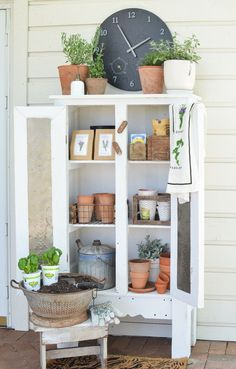 Outdoor Garden Storage Cabinet - Home Decoration Garden Storage Cabinet, Farmhouse Storage Cabinets, Porch Storage, Bedroom Storage, Vintage Farmhouse, Farmhouse Design, Farmhouse Style, Farmhouse Decor, Modern Farmhouse