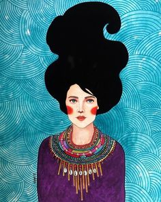 A global painter artist Hülya Özdemir who shows that every woman is a unique galaxy. This is the reason why I admire the spectacular women of Hülya Özdemir! Art And Illustration, Illustrations, Instalation Art, Frida Art, Banksy, Art Sketchbook, Portrait Art, Belle Photo, Canvas Art Prints