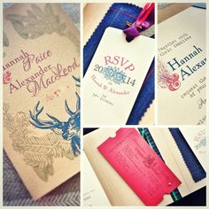 Inspiration for a country lodge wedding invitation - a mix of English and Scottish ideas