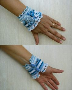 Blue White Crochet Cuff Bracelet Beaded Cuff by SvetlanaCrochet