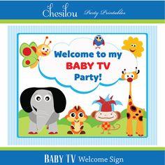 Aangepast Baby TV verjaardagsuitnodiging en partij Kit