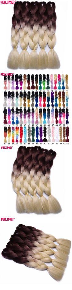 Feilimei Brown Blonde Colored Crochet Hair Extension Kanekalon Hair Synthetic Crochet Braids Ombre Jumbo Braiding Hair Extension