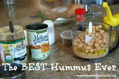 the best hummus ever {so far!} Simple, tasty hummus that can be beaten in a blender or mini food processor – just the right mix of flavors! Pampered Chef Recipes, Cooking Recipes, Mini Foods, How To Eat Less, Appetizer Recipes, Appetizers, Food Inspiration, Whole Food Recipes, The Best