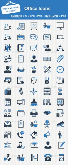 Set of 65 business and office icons great for presentations, web design, web apps, mobile applications or any type of design proje