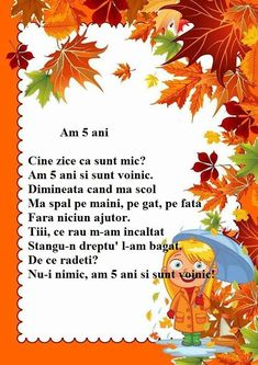 Poezie - Am 5 ani Autumn Activities, Preschool Activities, Kids Poems, Kindergarten Math Worksheets, English Activities, Spring Crafts, Nursery Rhymes, Kids And Parenting, Songs