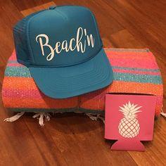 All you need to have a beach'n summer! Trucker hat $20, Mexican Blanket $20, pineapple koozie $5. Shipping is available in the U.S.  #beachlife #endlesssummer #truckerhats #mexicanblankets #pineapples #pineapplekoozie #surfergirl #surf #yogamom #wanderlust #pacificocean #hawaii #islandgirl #kona #waikiki #sandiego #malibu #destin #coronado #imperialbeach #livealoha #bridesmaids #imperialbeachlocals #sandiegoconnection #sdlocals #iblocals - posted by JadeKai Designs…