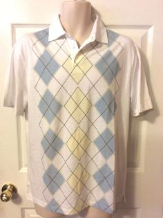 Joesph Abboud  Men's Pullover Polo Golf Shirt..Size M Yellow Blue Plaid checks #JosephAbboud #PoloShirt