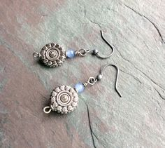 Silver Disc Earrings / Lilac / Adventurine / Bead / by FOLIOSA