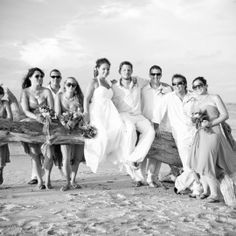 beach wedding party photo.