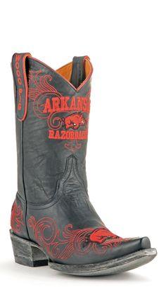 Gameday U Of Arkansas Ladies Leather Boots ARK-L115-1 - Black