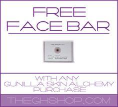 Free Face Bar With Any Gunilla Skin Alchemy Purchase www.theghshop.com