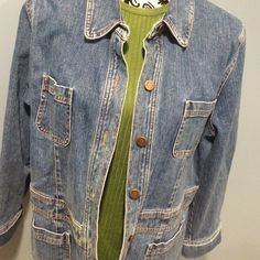 Jones NY Stretch Jean Jacket Gently used, longer barn coat style jean jacket. 98% cotton 2% spandex. Re-Posh (a little small for me). Will best fit a size 14. Jones New York Jeans