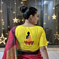 Buy Stitched Embroidered Blouse Online in India Blouse Back Neck Designs, Sari Blouse Designs, Fancy Blouse Designs, Blouse Patterns, Saree Painting Designs, Fabric Paint Designs, Stylish Blouse Design, Hand Painted Dress, Bollywood