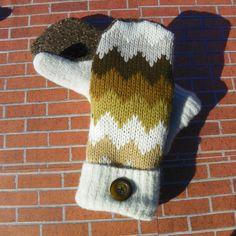 chevron recycled sweater mittens upcycled sweater mittens ladies sweater gloves reclaimed sweater chevron Tan brown white fleece by KatesHandiwork