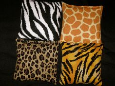 Jungle Safari Party Favors - Party Game - Listing of 4 Bean Bags - Your choice of 4 Fabrics - Zebra Tiger Giraffe Leopard Prints. $10.00, via Etsy.