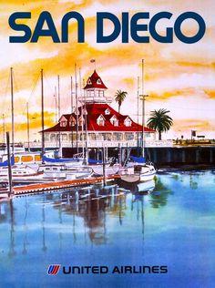 San Diego California Del Coronado United States Travel Advertisement Poster #Vintage