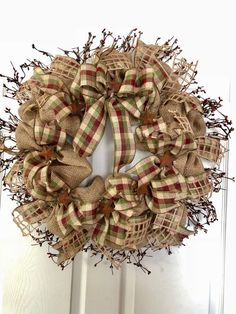 Country Home Decor / Primitive Decor / Americana Wreath / Farmhouse Wreath / Burlap Wreath / Gifts F Deco Mesh Wreaths, Fall Wreaths, Door Wreaths, Christmas Wreaths, Burlap Wreaths, Beach Wreaths, Easter Wreaths, Christmas Ideas, Burlap Crafts