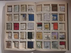"""(Image & description, not DIY just inspiration) ... """"Project Cleverly Explains A Kindle To Charles Dickens. To do so, she devised a way for a big book to hold forty miniature books and did so by cutting spaces in the pages ..."""""""