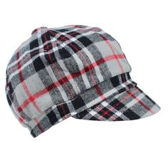 Gray and Red Plaid Cabbie Hat
