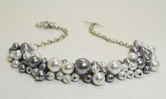 White and Gray Pearl Cluster Necklace, Bridal Jewelry, Chunky Necklace, Pearl Neckace, Bridesmaids Jewelry on Etsy, $26.00