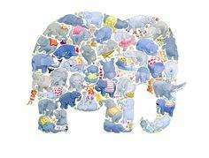 E est pour Elephant enfants Art Print par LouTateIllustration
