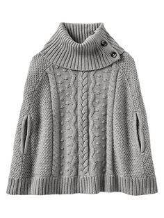 Cable knit capelet, this with skinny jeans and riding boots would be so cute.