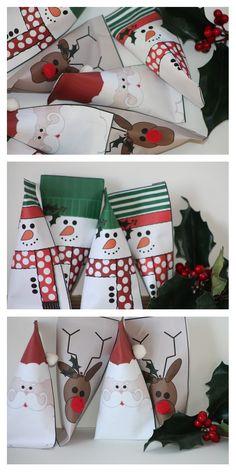 """""""la bonne idée en plus"""" : les imprimables sont disponibles en versions couleur et noir & blanc : les enfants pourront aussi s'amuser à les colorier et vous aideront ainsi à préparer les friandises de Noël !"""