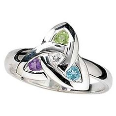 Sterling Silver Trinity Ring with John, Alex and my birthstones.