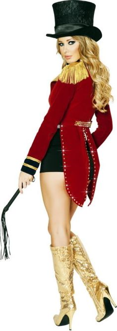 Sexy Glamorous Circus Ringleader Ringmaster Halloween Costume Outfit Adult Women